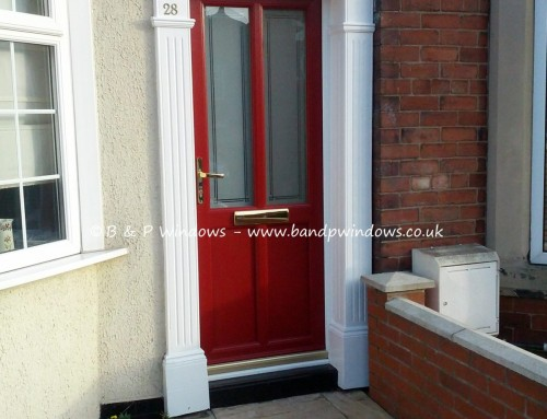 Red engineered door with sandblasted glass