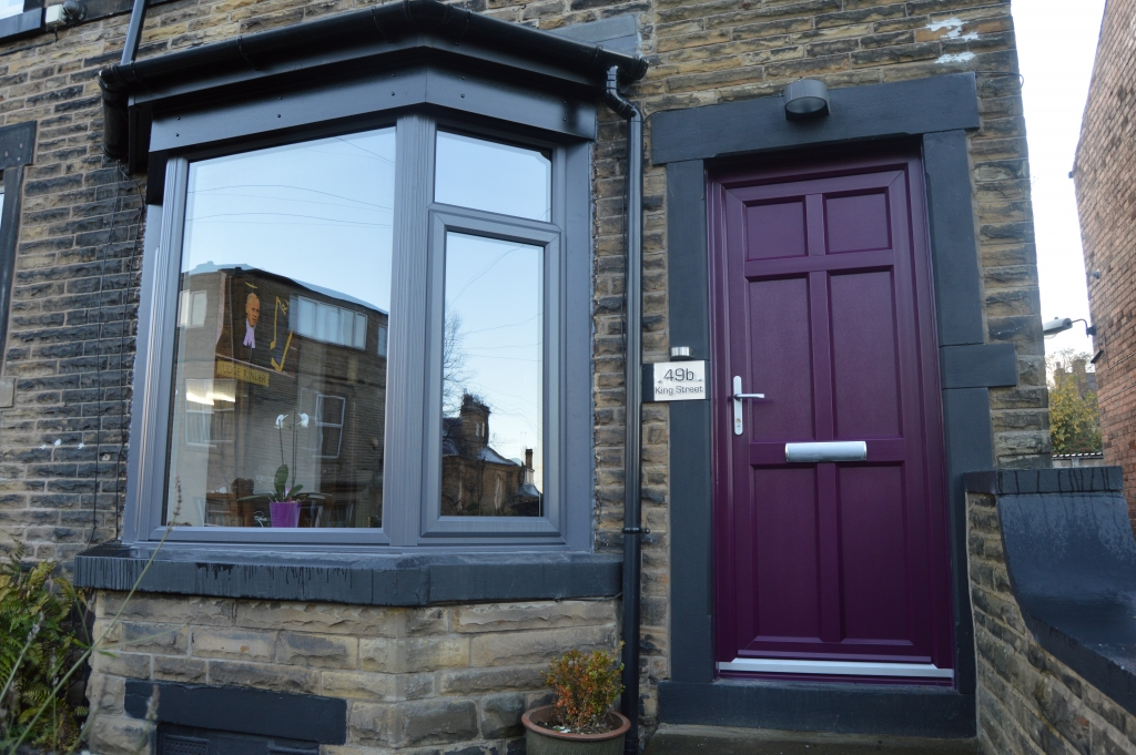 Hirst Slate Grey Windows With Custom Purple Door B Amp P