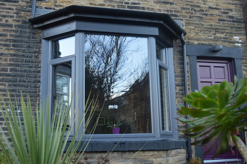 Hirst Slate Grey Windows With Custom Purple Door B Amp P