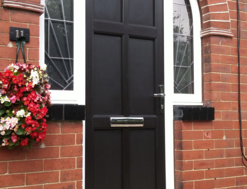 Black Engineered door with arched side/top light