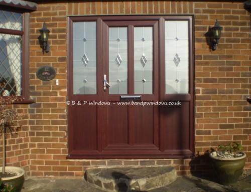 Rosewood engineered door with matching sidelights
